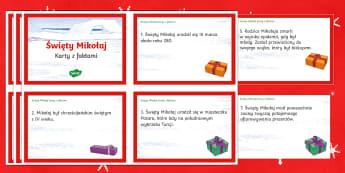 Karty z faktami Święty Mikołaj - Mikołaj, biskup, buty, prezenty, mikołajki, 6, grudnia, grudzień, rodzice, Mikołaja, gwiazdka,