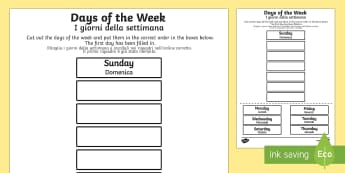 Days of the Week Cut and Stick Activity Sheet English/Italian - days, weeks, calendar, calandar, days of the wek, days pf the week, days ofthe week, days of the wee