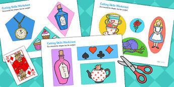 Alice in Wonderland Cutting Skills Worksheet - motor skills, cut