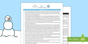 Snow Fact Sheet for Adults - EYFS, Early Years, KS1, Key Stage 1, snow, winter, seasons, weather, snowman, snowflakes, ice