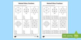 Colouring Non-Unit Fractions of Shapes Activity Sheets - fraction, unit fraction, fraction of a shape, fraction of a quantity, fraction of a number, fraction