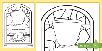 Stained Glass Chalice First Communion Colouring Page - Confession & First Communion Resources,Irish