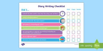 UKS2 Diary Writing Checklist - Diary, Diaries, Writing Diaries, Diary WAGOLL, Success Criteria, Diary Extract, Diary Entry