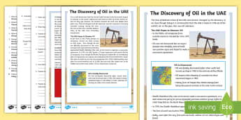 The Discovery of Oil in the UAE Differentiated Reading Comprehension Activity - oil discovery, UAE history, UAE Heritage, Middle East History, UAE Facts