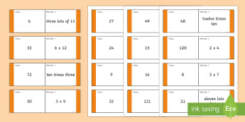 Times Table 1 to 2 Loop Cards - 1-12 Times Table Loop Cards - times, table, loop, cards, times tables
