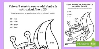 Colora il mostro con le addizioni e le sottrazioni fino a 20 Fogli da colorare - addizione, sottrazione, italiano, italian, materiale, scolastico, operazioni, calcoli, colori, color