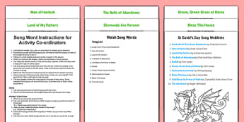 Elderly Care St David's Day Song Words Instructions for Activity Coordinator - Elderly, Reminiscence, Care Homes, St. David's Day