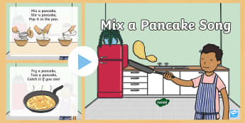 Mix a Pancake Action Rhyme Song PowerPoint - Mr Wolf's Pancakes, pancake day, Jan Fearnley,