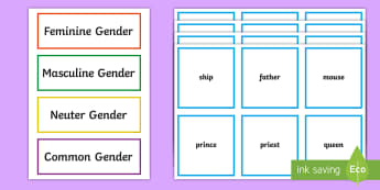 Gender of Nouns Sorting Cards - oral language, gender of nouns, sorting, cards, words, categorisation of language,Irish