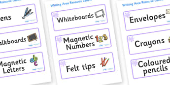 Lilac Themed Editable Writing Area Resource Labels - Themed writing resource labels, literacy area labels, writing area resources, Label template, Resource Label, Name Labels, Editable Labels, Drawer Labels, KS1 Labels, Foundation Labels, Foundation
