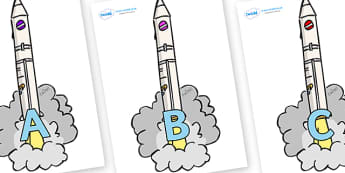 A-Z Alphabet on Launching Rockets - A-Z, A4, display, Alphabet frieze, Display letters, Letter posters, A-Z letters, Alphabet flashcards