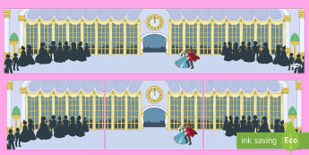 Small World Background (Cinderella at the Ball) -  Cinderella, Small World, backdrop, background, scenery, small world area, small world display, small world, Traditional tales, tale, fairy tale, Pince Charming, Ugly Sisters, Step Godmother, Dress, M