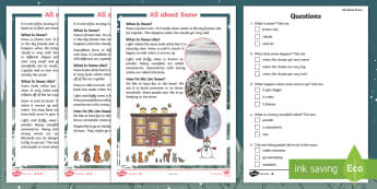 Ten Little Lights All About Snow Differentiated Reading Comprehension Activity - Twinkl Originals, Fiction, Christmas, Winter, Snow, Cold, KS1, Guided Reading, Inference, deduction
