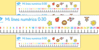 Spanish Number Line 0-30 - spanish, number, line, 0-30, numbers