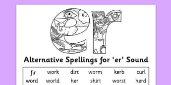 Alternative Spelling For er Sound Activity Sheet - KS1 Phonics, Alternative spellings, er sound worksheet