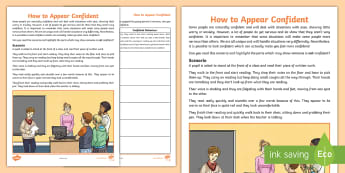 How to Appear Confident Activity Sheet - relationships, feelings, young people, confidence, transition, change, families, behaviour, workshee