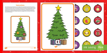 Christmas Tree Phase 2 Phonics Game - EYFS, Early Years, Christmas, Xmas, Christmas Festival, Phonics, Letters and Sounds, Phase 2, Letter