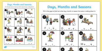 Days Months and Seasons Missing Letters Worksheet - months, days