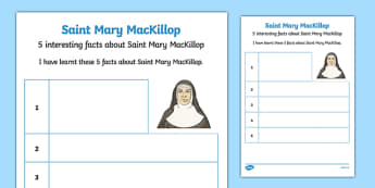 5 Facts About Saint Mary MacKillop Worksheet / Activity Sheet-Australia, worksheet
