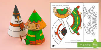 Spiriduș tridimensional Activitate - Crăciun, activități manuale, jucării de crăciun, machete