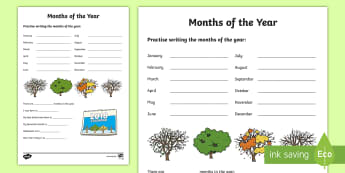 Months of the Year Worksheet / Activity Sheet - NI KS1 Numeracy, months, year, handling data, calendar, worksheet