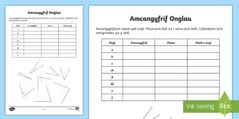 Taflen Gweithgaredd Amcangyfrif Onglau - WL Social Media Requests in Welsh KS2 (HIGH PRIORITY) Amcangyfrif Onglau, ongl, lem, aflem, atblyg