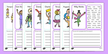charlie the chocolate factory writing frames and page  character description writing frame to support teaching on charlie and the chocolate factory