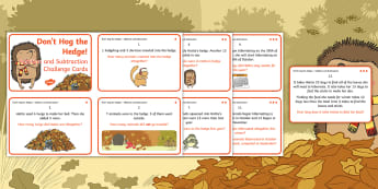 Don't Hog the Hedge! Addition and Subtraction Differentiated Maths Challenge Cards - Twinkl Originals, Fiction, Autumn, Hibernate, Woodland, Animals, problem solving, application, maste