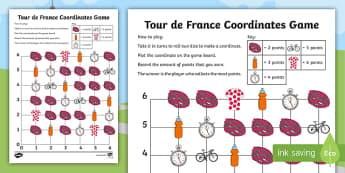 Year 4 Tour de France Coordinates Game - numeracy, maths, position, direction, geometry, cycling, co-ordinates, events
