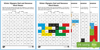 Winter Olympics Phase 3 Phonics Mosaic Activity Sheets - Korea, Sports, Decode, Blend, Digraphs