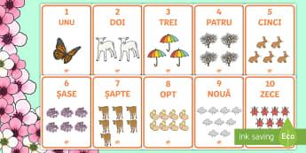 Primăvara - Planșe cu numerele de la 1 la 10 - matematică, numere, numerație, 1-10, număr, numar, numeratie, planșe, materiale, planse, primăv