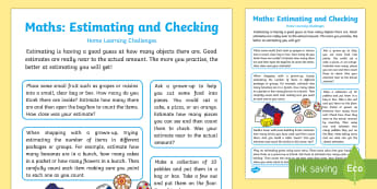 EYFS Maths: Estimates How Many Objects... Home Learning Challenges - EYFS, Early Years, Estimate, count, Check, Counting, Estimation, Numeracy, Maths, Mathematics, Numbe