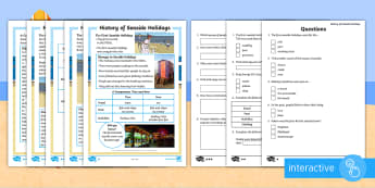 KS1 History of Seaside Holidays  Differentiated Comprehension Go Respond - digital, tablet, smartphone, online, computer