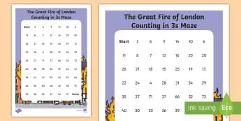 The Great Fire of London Counting in 3s Maze Worksheet / Activity Sheet - The Great Fire of London, fire, samuel pepys, pudding lane, london's burning, history, year 2, y2,