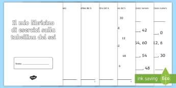 Esercizi sulla tabellina del sei Opuscolo - moltiplicazione, callcoli, matematica, elementari, esercizi, italiano, italian, materiale, scolastic