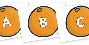A-Z Alphabet on Oranges - A-Z, A4, display, Alphabet frieze, Display letters, Letter posters, A-Z letters, Alphabet flashcards