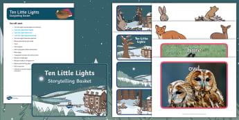 Ten Little Lights Storytelling Basket - EYFS, story, reading, winter, Twinkl originals, literacy, books, reading area, reading buddies, stor