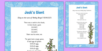 Jacks Giant Song - Jack and the Beanstalk, beans, beanstalk, nursery rhymes, rhyme