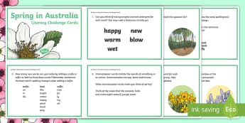 5-6 Spring in Australia Literacy Challenge Cards - literacy, challenge, activity, Spring, Australia, Seasons, Weather,Australia