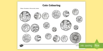 Coins Colouring Worksheet / Activity Sheet- money, coins, numeracy, colour