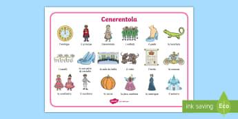 Cenerentola Vocabolario Illustrato - leggere, scrivere, descrivere, colori, italiano, italian, materiale, scolastico