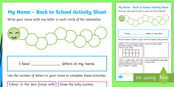 My Name – Back to School Activity Sheet - name, start of year, letters, about me, activity, compare,Irish