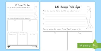 Year 5 and 6 Chapter Chat Life through Via's Eyes Activity Sheet to Support Teaching On Wonder by R.J. Palacio - literacy, chapter chat, reading, rJ Palacio, wonder, Year 5, year 6, worksheet