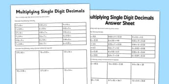 Multiply Single Digit Decimals Worksheet / Activity Sheet - year 6, multiply decimals, activity, new curriculum, worksheet