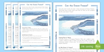 Can the Ocean Freeze?  Fact File - water cycle, science, STEM, changes, environment, global warming