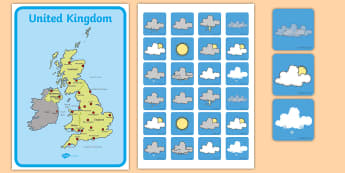 United Kingdom Weather Forecasting Role Play Pack - Weather display, Weather role play, KS1, display banner, Weather, weather chart, weather display, date display, rain, sun, snow, fog, cloud