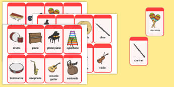 Musical Instrument Flashcards - Music, instrument, action, word card, flashcard, word cards, playing instruments, piano, drums, guitar, recorder, violin, triangle, cymbals, notes, music