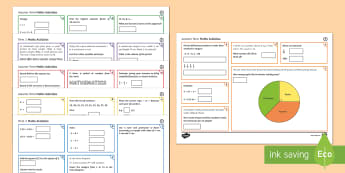 Half Term 2 Lowest Ability Maths Activity Mats - order, pie charts, adding fractions, bidmas, bodmas, converting, fractions, decimals, percentages, r