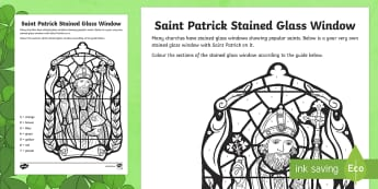Saint Patrick Stained Glass Window Colour by Number - World Around Us KS2 - Northern Ireland, St. patrick, patrick, 17th March, saints, stained-glass, col