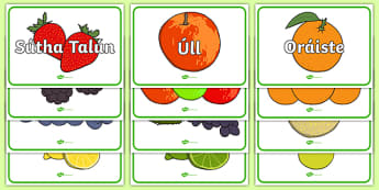 The Supermarket Role-Play Fruit Display Cut-Out Pack Gaeilge